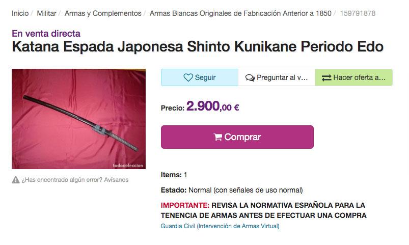 comprar una katana