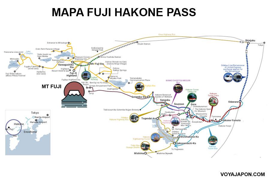 Mapa Fuji Hakone Pass